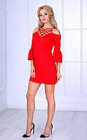 Женское платье с открытыми плечами и плетеным декольте (красное) Poliit № 8408