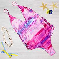 Купальник цельный розовый яркий модный Купальник красивый женский слитный  127-031