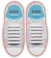 Детские прямые силиконовые антишнурки для кроссовок и кед Белый, 38 мм