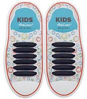 Детские прямые силиконовые антишнурки для кроссовок и кед Черный, 38 мм