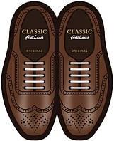 Силиконовые шнурки (антишнурки) для классических туфель Белый, 30 мм