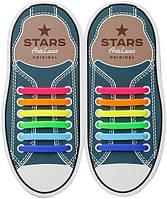 Прямые силиконовые антишнурки для кроссовок и кед 53 мм, Радуга