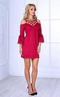 Женское платье с открытыми плечами и плетеным декольте (бордовое) Poliit № 8408