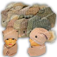 Комплект шапка и шарф для девочки, р. 50-52,  Agbo (Польша), подкладка флис, 1355