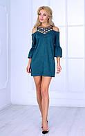 Женское платье с открытыми плечами и плетеным декольте (зеленое) Poliit № 8408
