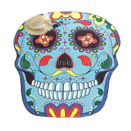 Пляжное коврик с рисунком Синий череп 150*120, фото 2