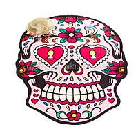 Пляжное покрывало с рисунком Розовый череп 150*120