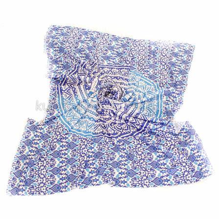 Пляжное покрывало с декором мандала синего цвета 210*150, фото 2