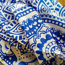 Пляжное покрывало с декором мандала синего цвета 210*150, фото 3