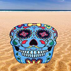 Пляжное покрывало в виде синего черепа Трендовый яркий пляжный коврик подстилка лёгкая 148*148, фото 3
