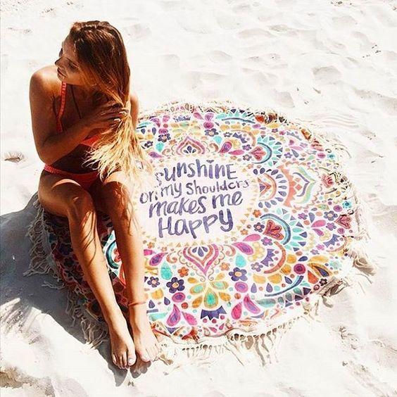 Пляжное покрывало круглое с рисунком Happy Sunshine 150*150