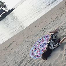 Пляжное покрывало круглое с рисунком Happy Sunshine 150*150, фото 3