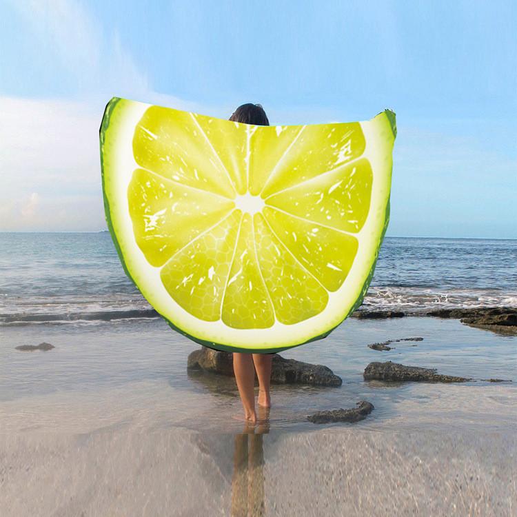 Пляжный коврик подстилка Лимон яркое лёгкое воздушное Пляжное покрывало в виде лимона 148*148