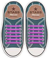 Прямые силиконовые антишнурки для кроссовок и кед Фиолетовый, 53 мм