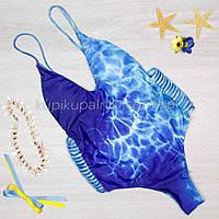 Купальник цельный голубой морской волны Купальник красивый женский слитный 127-032