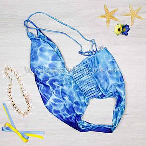 Купальник цельный, мягкая чашка с вкладышем, слипы - голубой - S-127-032, фото 2