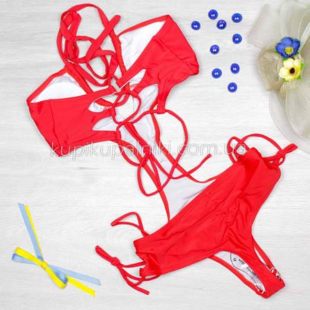 Купальник цельный, монокини, мягкая чашка - красный цвет 125-033, фото 2