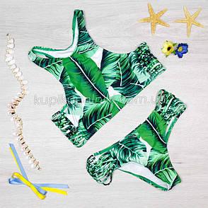 Купальник раздельный хайнек банановые листья  Купальник зеленый с выерезами по бокам ТОЛЬКО РАЗМЕР XL 127-02, фото 2