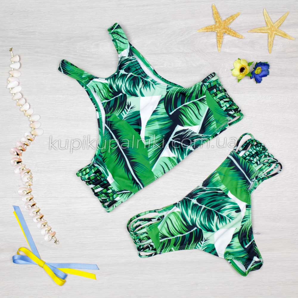 Купальник раздельный хайнек банановые листья  Купальник зеленый с выерезами по бокам ТОЛЬКО РАЗМЕР XL 127-02