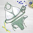Купальник раздельный с резиночками на лифе push up зеленый трусы на завязках оливковый хаки размер М, фото 2