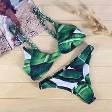 КУПАЛЬНИК Тропический принт Раздельный Зеленый Узор Банановые Листья 2020 размер S, фото 3