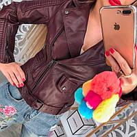 Женская бордовая косуха кожанка с ремнем