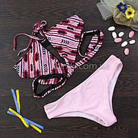 Купальник раздельный, мягкая чашка с вкладышем, плавки слипы - розовый 124-052