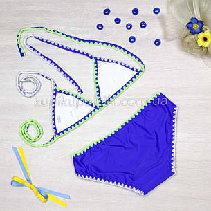 Купальник раздельный бикини яркий молодёжный  Купальник синий электрик стильный 128-102, фото 2