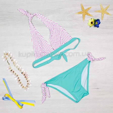 Купальник раздельный, бикини, мягкая чашка, слипы - голубой 128-09, фото 2