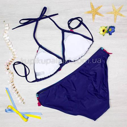 Купальник раздельный темно синий 2020 Купальник с рюшами красивый модный 128-011, фото 2