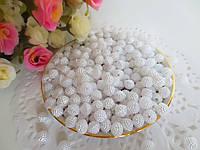 Бусины перламутровые с пупыпышками, 0,8 см, цвет белый, 50 шт.