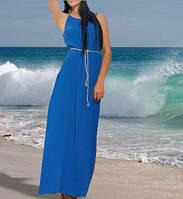 Платье- макси свободного фасона, с поясом. Цвет синий