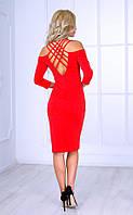 Женское платье миди с плетением на спине (красное) Poliit № 8415