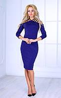 Женское платье миди с плетением на спине (синее) Poliit № 8415