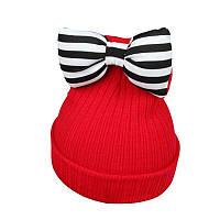 Детская тёплая шапка для девочки с бантом