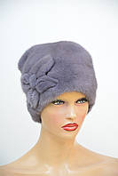 Норковая шапка женская кубанка цветок с трикотажем, фото 1