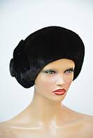 """Женская шапка норковая """"Берет-асимметрия,украшение (щипка)"""", фото 1"""