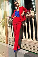 Женский брючный деловой костюм двойка брюки + пиджак черный красный