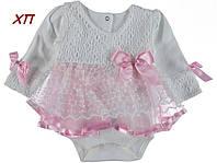 Шикарное нарядное боди-платье для девочки на крещение, на праздник Турция на 9 мес.