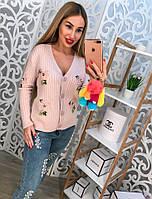 Женская стильная вязаная кофта на пуговицах с аппликацией (4 цвета)