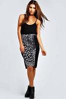 Новая юбка в принт с асимметричным низом Boohoo