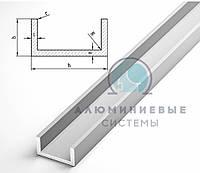 Профиль алюминиевый, швеллер 20х16х1.5 / анод серебро