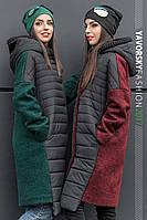 Зимнее комбинированное стеганое пальто