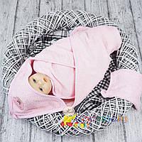 Комплект для купания малыша (пеленка и рукавичка) махра розовый