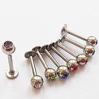Для украшения пирсинга губы лабретта 8 мм, шарик с кристаллом 4 мм. Медицинская сталь.