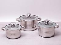 Набор кастрюль из нержавеющей стали 6 предметов (2.1л, 2.9л, 3.9л) Kamille 4501S