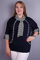 Лара. Нарядная женская кофточка супер сайз. Синий., фото 1