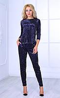 Женский бархатный брючный костюм с трикотажными вставками Poliit №7082