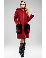 Демисезонное пальто с меховыми карманами Разные цвета