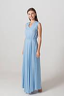 Платье в пол голубого цвета с расклешенной юбкой